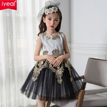 IYEAL 2017 Black and Gold Princess Vintage Girl Dresses Embroidered Formal Party Girl Christmas Princess Kids Clothes