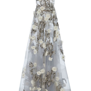 Floral Sheer Tulle Gown | Moda Operandi
