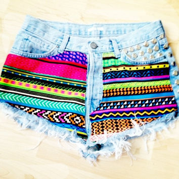 Vintage Studded & Hand Printed Denim Shorts by vs4lovematinee