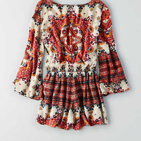 AEO CROSS-FRONT LONG SLEEVE ROMPER