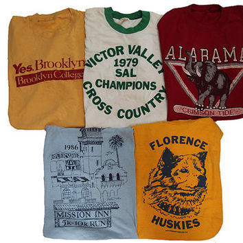 5 Vintage T-shirts Size Small Distressed 80's Shirts