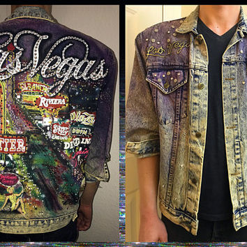 TONY ALAMO ICONIC Glitz Denim Jacket / Acid Wash Las Vegas City Lights / Sin City Celebrity Designer Jacket / Rhinestones / Airbrush Painted