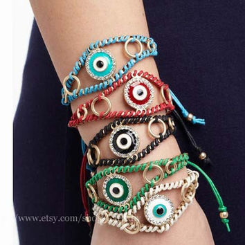 Evil eye bracelet, Turkey's blue eyes woven bracelet