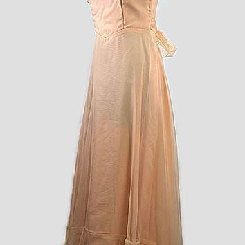 Audrey Peach Vintage Prom Dress from 1970s, Just In