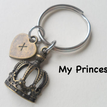 Princess Crown Keychain, Key Ring, Gift for Daughter, Girlfriend, Wife, Gift, Fairytale, Couples Keychain, Bronze 8 Year Anniversary Gift