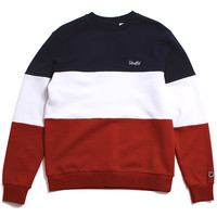 Paneled Fleece Crewneck Sweatshirt Red / White / Blue