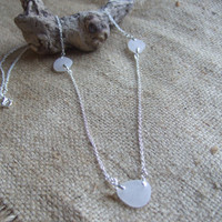White Scottish sea glass and sterling silver necklace, bridesmaid bridal jewelry, long white sea glass necklace, 26'' any size custom made