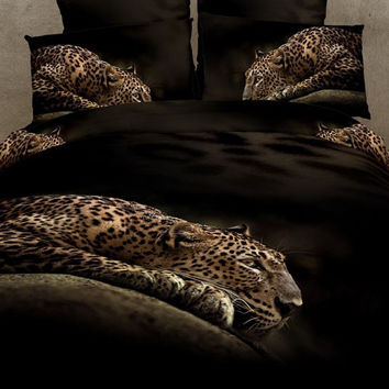 Bed Set 3D Leopard Design 4Pc