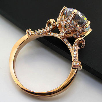 THREEMAN Gorgeous Solid 750 Rose Gold Ring 4CT Synthetic Gem Engagement Ring Lord Rose Gold 750 Bridal Fine Jewelry With Box