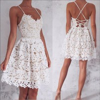 White Sweetheart Lace Strapless Homecoming Dress