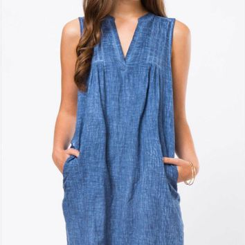 Mineral Washed Denim Dress