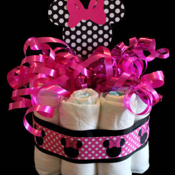 Minnie Mouse Diaper Centerpiece Cake - Baby Showers, Centerpieces, Shower Decor, Hospital Gifts, Mommy to Be, Minnie Mouse Baby Shower