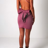 Hayden Dark Pink Bow Back Bodycon Mini Dress