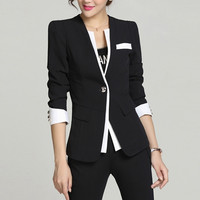 Plus Size S-4XL Lady Blazer 2016 Long Sleeve Notched Women's Blaser Female Elegant Jacket Office Wear Autumn Women Blazer