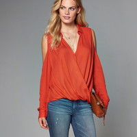 Womens Cold Shoulder Wrap Top | Womens Tops | Abercrombie.com