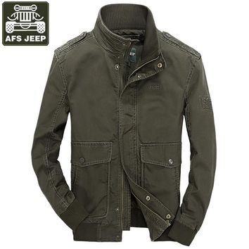 AFS JEEP 2017 Brand Man Jacket Cotton Winter Jacket Men Slim Fit Army Military Jackets And Coats Stand Collar Men's Windbreaker