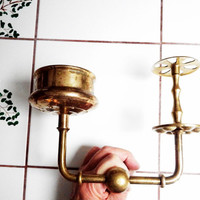 1970s Retro Brass Bathroom Hardware - Soap Dish, Glass and Toothbrush Holder