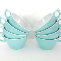 Vintage 1960's Texas Ware Aqua, Turquoise Cups, Melmac Cups, Coffee Mugs, Mid Century Kitchen