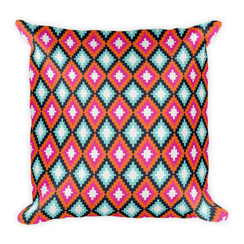 Bohemian Teal Orange Pink Diamond Decorative Throw Pillow 18x18