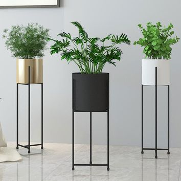 Tall Cast Iron Flower Pot Stand with Large Vase