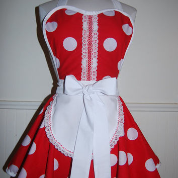 Red and White Polka Dot Circle Skirt Hostess Apron