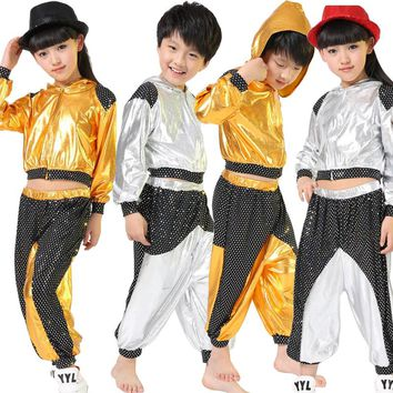 Girls Boys Gold Silver Ballroom Jazz Hip Hop Dance Competition Costume Kid Clothing Clothes Hoodie Shirt Top Pants Dancing Wear