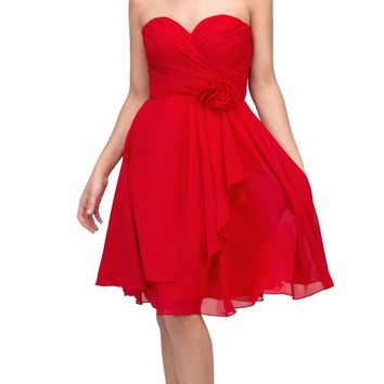 Red Chiffon Beach Wedding Dress Knee Length Strapless