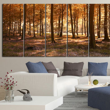 LArge Wall Art Canvas Print Autumn Forest | Forest Art Canvas Print | Trees  Forest Canvas Painting | Tree Branches in River Canvas Print