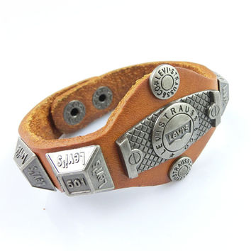 Fashion Punk  Adjustable Leather Wristband Cuff Bracelet - Great for Men, Women, Teens, Boys, Girls 2735s