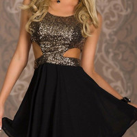 Golden Sequined Panel Cut Out Sleeveless Dress