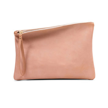 Nude leather clutch, fold over clutch, evening bag