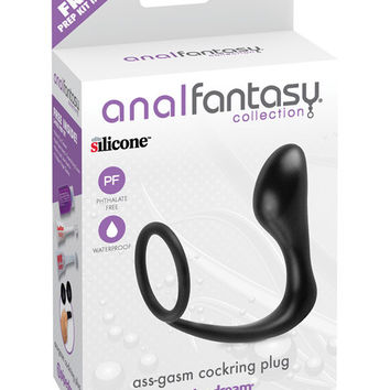 Anal Fantasy Collection Ass Gasm Cockring Plug - Black