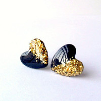 Navy blue and gold glitter studs, heart post earrings, bridesmaid jewelry, free shipping, girly cute