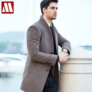 High quality 50% Wool Coats Men Autumn Winter Business Casual Single Breasted Long Trench Coat