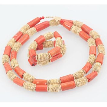 Dubai Wedding Coral Jewelry Quality Men Real Coral Bead Jewelry Set 50 inches Long Coral Necklace Bracelet for Groom ABH555