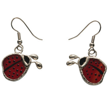 Stained Glass Ladybug Earrings