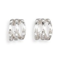 925 Sterling Silver 3 Row Polished Ear Cuff