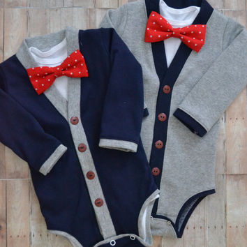 Twin Baby Cardigan One Piece Set: Navy and Gray with Interchangeable Tie Shirts and Bow Ties