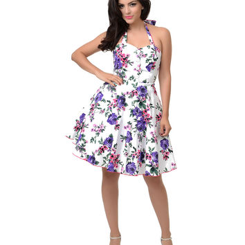 1950s Style White & Purple Floral Halter Flare Dress