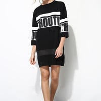 Street Style Letter Print Knit Dress DR0199