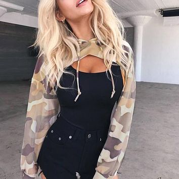 Cut out crop tops hooded sweatshirts Fashion street women casual pullovers Front hollow long sleeve cool hoodies 2017 Autumn