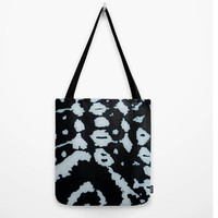 "Tribal Tote Bag (13"" X 13"", 16"" X 16"", 18"" X 18""),Original,African,Print,Black,White,Shopping Bag,Work Bag,Gym Tote,Beach Bag,Unique"