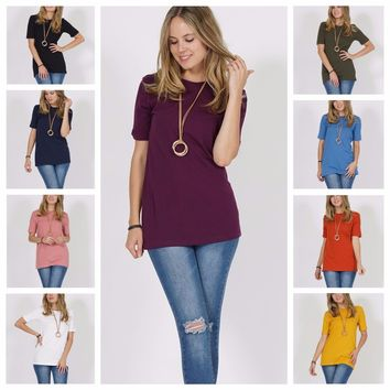 Women Casual Soft Cotton Crew-Neck Short Sleeve Tunic Top S M L XL 1X 2X 3X