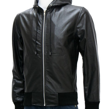 Black Leather Bomber Jacket with Hood