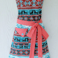 Teal and Coral Tribal Print Apron - Aztec, Ethnic, Retro Style, Full Apron, KitschNStyle