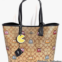 COACH X PAC-MAN LTD Ghost Signature Reverse Tote Bag w/Makeup Pouch & Key Chain!