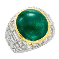 Bulgari Cabochon Emerald Diamond Ring