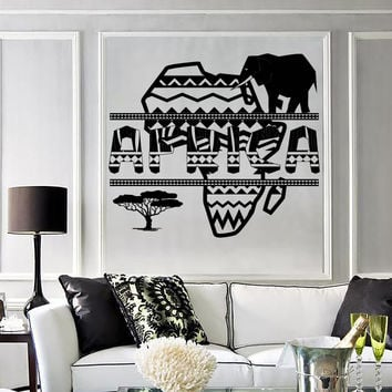 Vinyl Decal Wall Sticker African Image in Ethnic Style Geometric Ornament Unique Gift (n782)