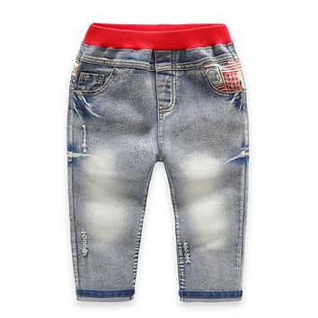 Kid Jeans Fashion Style Elastic High Waist Children Casual Pants Toddler 3-7Y Boys Denim Jeans