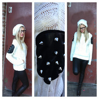 Call Me Spike Knit Sweater in White